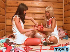Naughty lesbian couple playing with big toy like no tomorrow