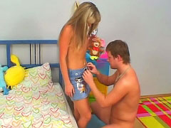 Amazing blonde teenie suckes and gets fucked by old man